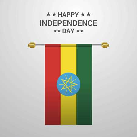 Ethiopia Independence day hanging flag background Vettoriali