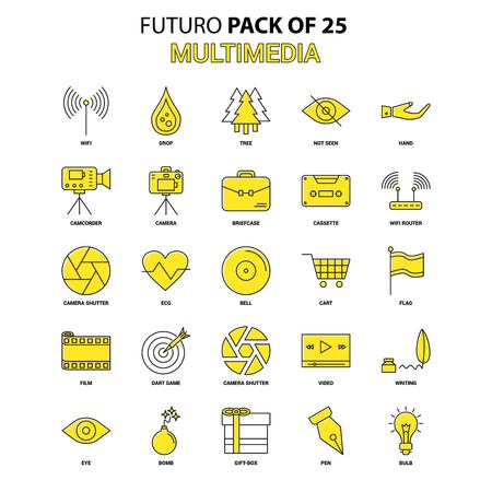 Multimedia  Icon Set. Yellow Futuro Latest Design icon Pack