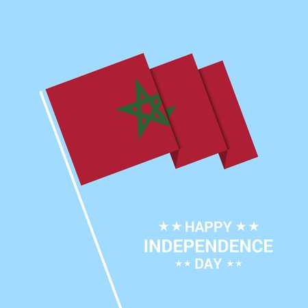Morocco Independence day typographic design with flag vector