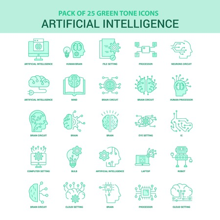 25 Green Artificial Intelligence Icon set