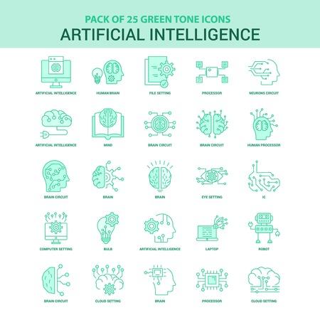Zestaw 25 zielonych ikon sztucznej inteligencji