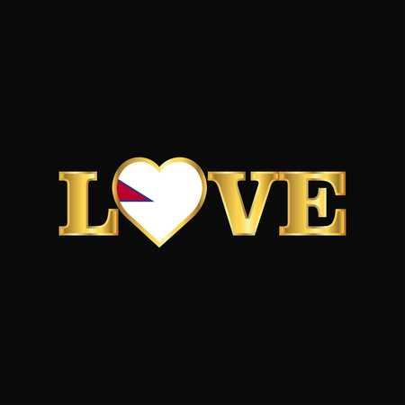 Golden Love typography Nepal flag design vector Ilustrace