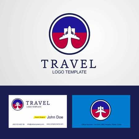 Travel Haiti Creative Circle flag Logo and Business card design