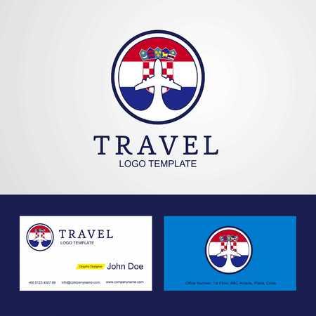 Travel Croatia Creative Circle flag Logo and Business card design Illustration