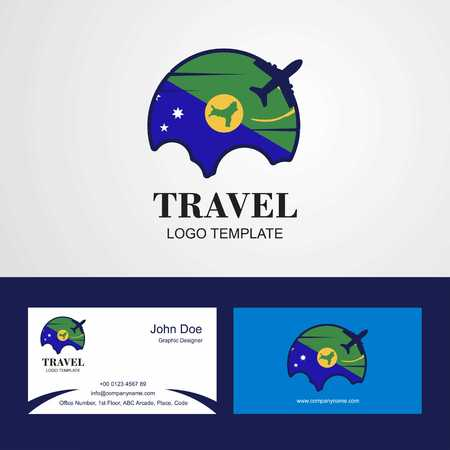 Travel Christmas island Flag Logo and Visiting Card Design Illustration