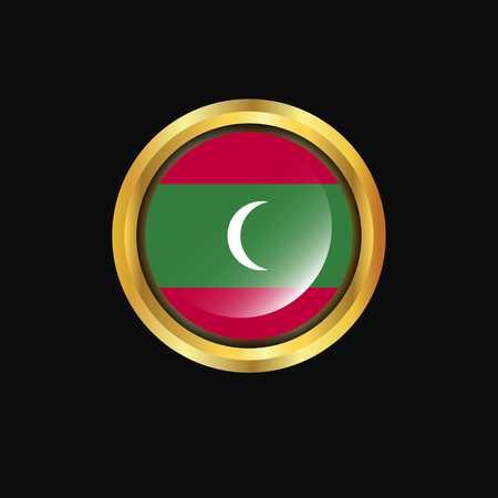 Maldives flag Golden button  イラスト・ベクター素材