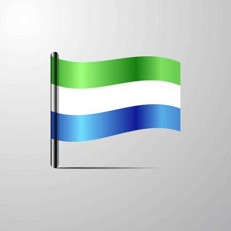Sierra Leone waving Shiny Flag design vector Ilustrace