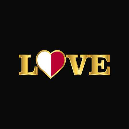 Golden Love typography Malta flag design vector
