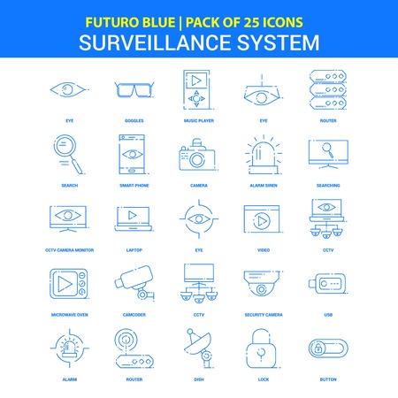 Surveillance Icons - Futuro Blue 25 Icon pack Illustration