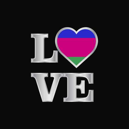 Love typography Kuban Peoples Republic flag design vector beautiful lettering
