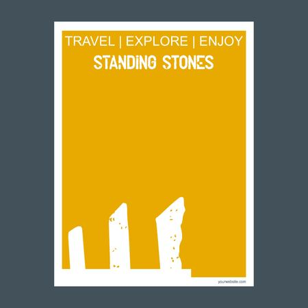 Standing stones Wiltshire, England monument landmark brochure Flat style and typography vector