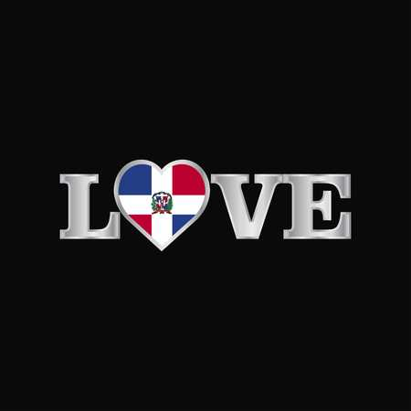 Love typography with Dominican Republic flag design vector