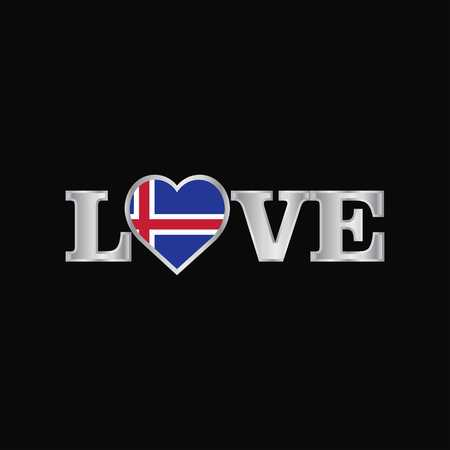 Love typography with Iceland flag design vector