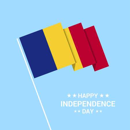 Romania Independence day typographic design with flag vector