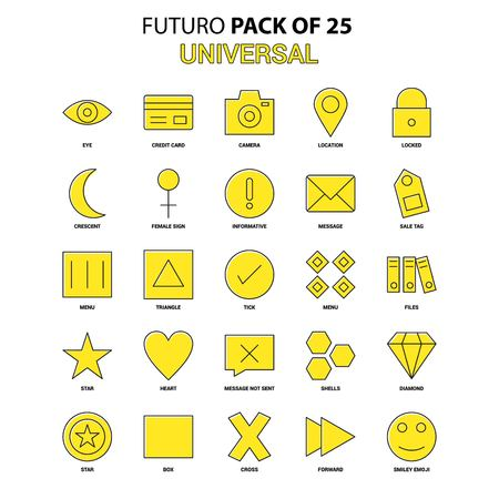 Universal Icon Set. Yellow Futuro Latest Design icon Pack Illustration