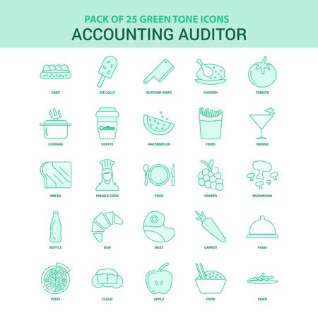 25 Green Accounting Auditor Icon set Vecteurs