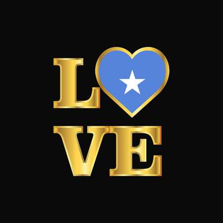 Love typography Somalia flag design vector Gold lettering Çizim