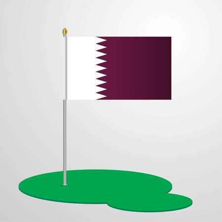Qatar Flag Pole Stock Vector - 118298442