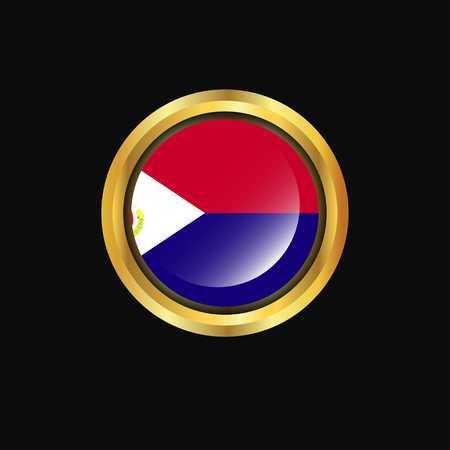 Saint-Martin flag Golden button