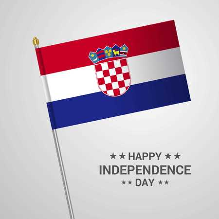 Croatia Independence day typographic design with flag vector