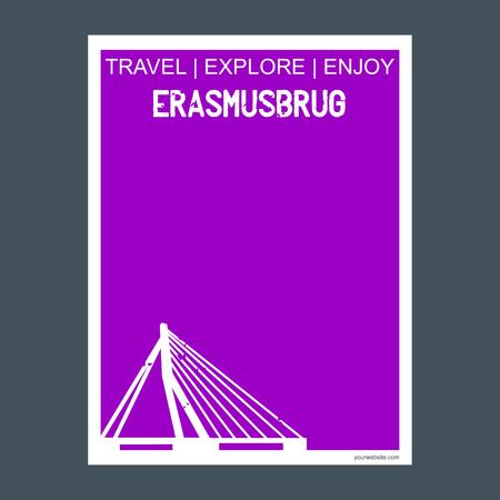 Erasmusburg Rotterdam, Netherlands monument landmark brochure Flat style and typography vector