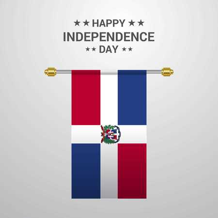 Dominican Republic Independence day hanging flag background