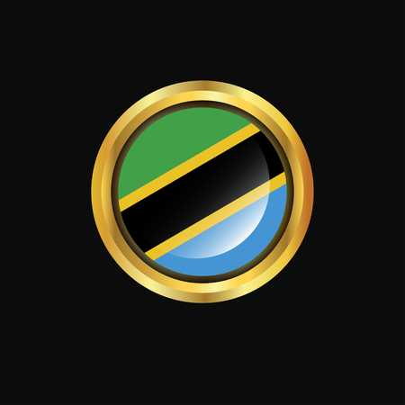 Tanzania flag Golden button Vektorgrafik