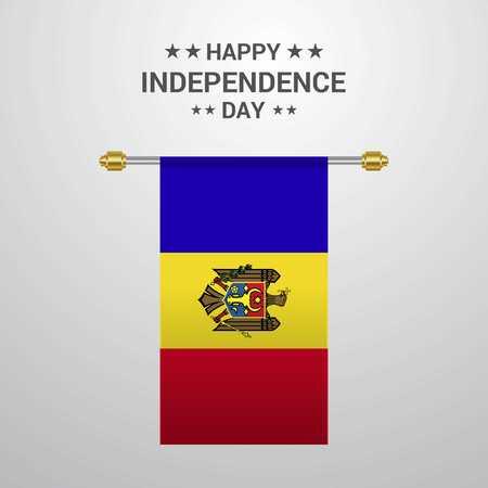 Moldova Independence day hanging flag background
