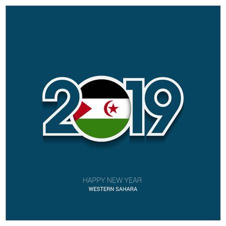 2019 Western Sahara Typography, Happy New Year Background Illustration