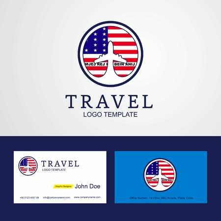 Travel Bikini Atoll Creative Circle flag Logo and Business card design Stock Illustratie