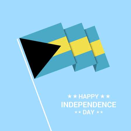 Bahamas Independence day typographic design with flag vector