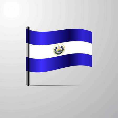 El Salvador waving Shiny Flag design vector