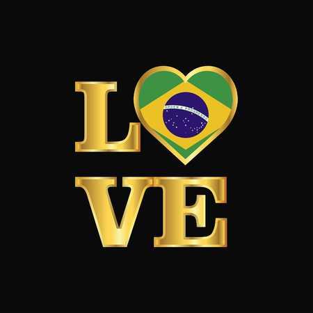 Love typography Brazil flag design vector Gold lettering