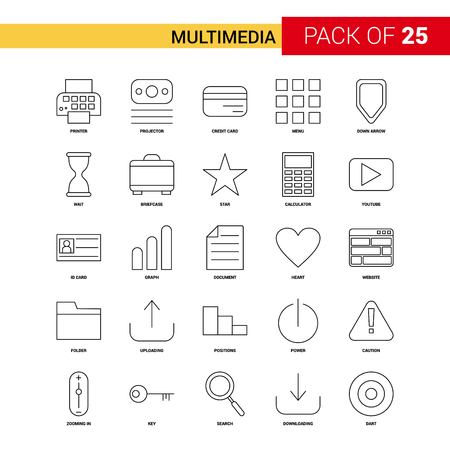 Multimedia Black Line Icon - 25 Business Outline Icon Set