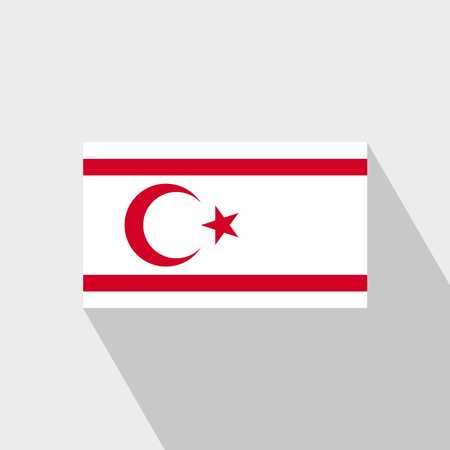 Northern Cyprus flag Long Shadow design vector