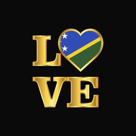 Love typography Solomon Islands flag design vector Gold lettering Çizim