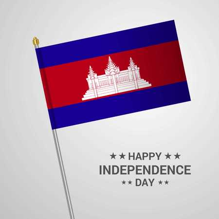 Cambodia Independence day typographic design with flag vector