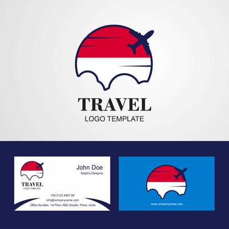 Travel Monaco Flag Logo and Visiting Card Design