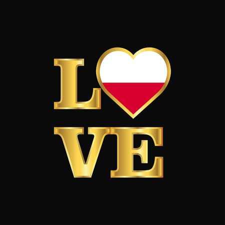 Love typography Poland flag design vector Gold lettering