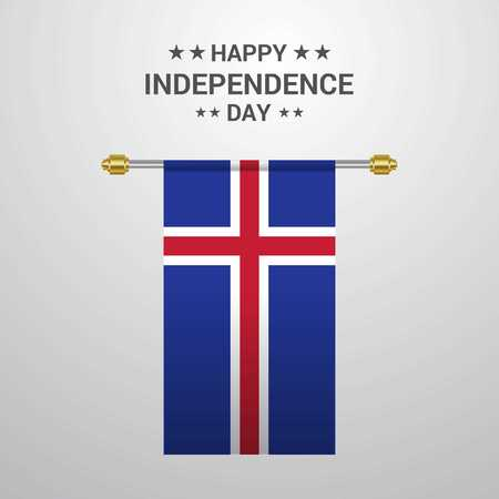 Iceland Independence day hanging flag background Ilustração