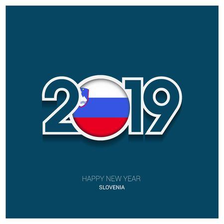 2019 Slovenia Typography, Happy New Year Background