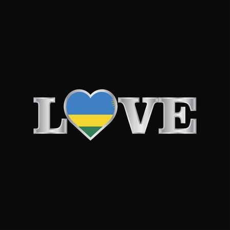 Love typography with Rwanda flag design vector