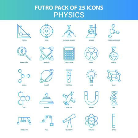 25 Green and Blue Futuro Physics Icon Pack