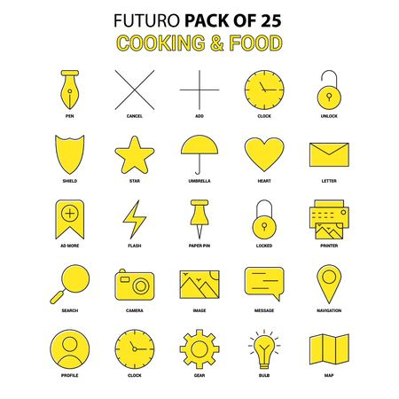 Cooking and Food  Icon Set. Yellow Futuro Latest Design icon Pack