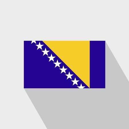 Bosnia and Herzegovina flag Long Shadow design vector