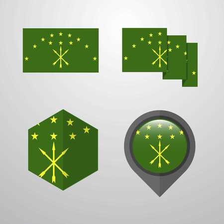 Adygea flag design set vector Reklamní fotografie - 111234021