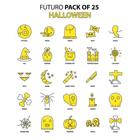 Halloween Icon Set. Yellow Futuro Latest Design icon Pack
