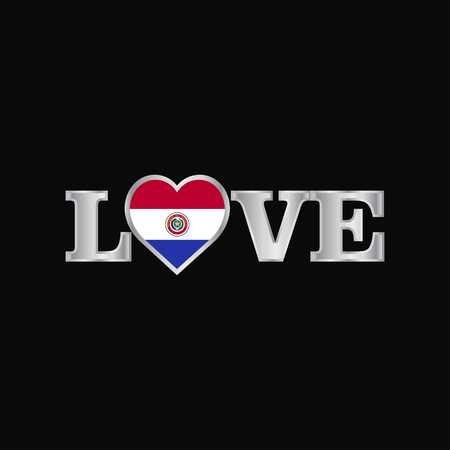 Love typography with Paraguay flag design vector