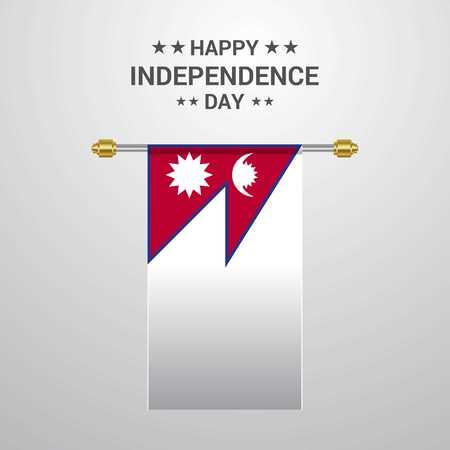 Nepal Independence day hanging flag background 向量圖像