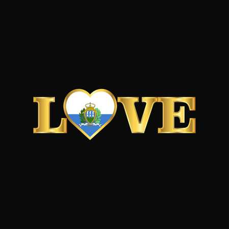Golden Love typography San Marino flag design vector